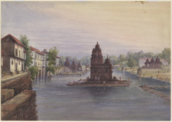 The ghats at Nasik with a temple in the river